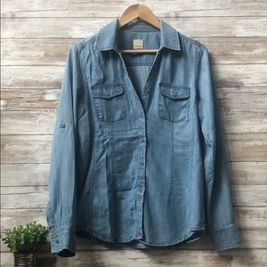 Ecru Roll up sleeve button down denim like shirt